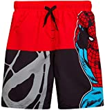 Marvel Boys Spiderman Swim Trunk Shorts, Spiderman Black/Red, Size 5/6