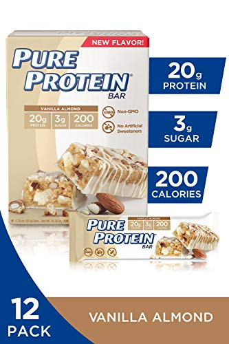 Pure Protein Bars, High Protein, Nutritious Snacks to Support Energy, Low Sugar, Gluten Free, Vanilla Almond (6 Count of 1.76 oz Bars), 10.58 oz, Pack of 2