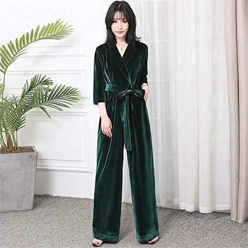 Lange fluweel jumpsuit met mouwen for vrouwen 2020 elegante rode zwarte plus size wijde pijpen sjerpen maxi vloer lengte romper (Color : Dark Green, Size : XXL)