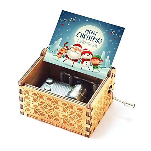 Evelure Carillon Merry Christmas, scatole Musicali a manovella in Legno Intagliato Antico...
