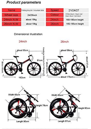 Bicicleta de montaña 24/26 Pulgadas 6 Ruedas de Radio Doble suspensión Bicicleta Plegable 21/24/27 Velocidad MTB Adultos Hombres y Mujeres universales-Azul Negro_26Inch27speed