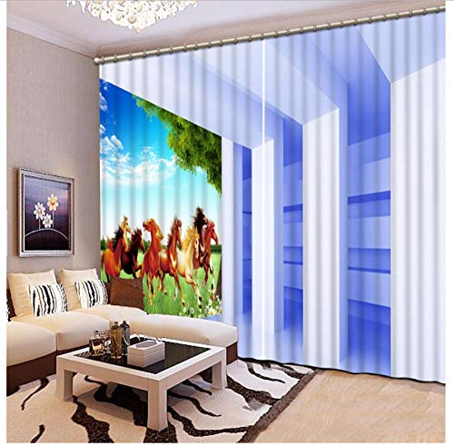 Custom Size Photo 3D Bedroom Space Curtain Horse Shower Curtain Opaque Curtain Fabric Window Curtain Living Room 2 Panels-W168X229cm (66 * 90 inch)
