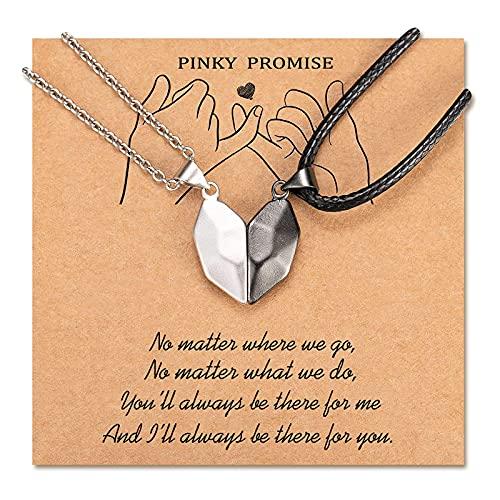 POWWA Coppia di collane per 2 coppie di catenine, magnete, la sua attrazione abbinata, set di gioielli regalo per lui e per lei, per gli amanti del Bf Gf