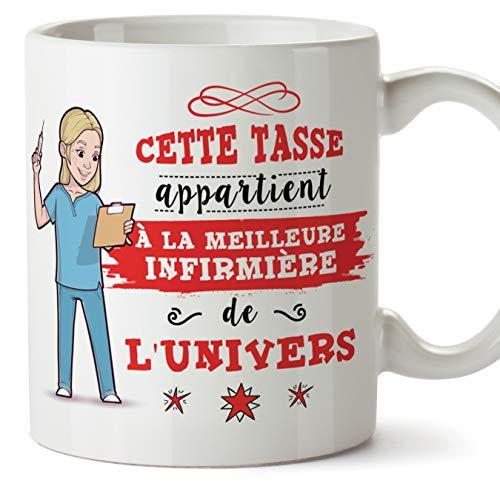 Mugffins Infirmière Tasses Originales de café et Petit-déjeuner à Donner Travailleurs Professionnels - Cette Tasse Appartient à la Meilleure Infirmière de l'univers - Céramique 350 ML
