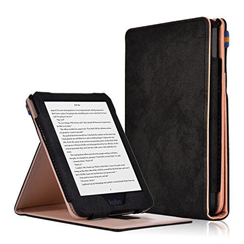 """Kobo Clara HD Cover - Custodia Flip Verticale in Pelle PU con Funzione Auto Sveglia/Sonno per Kobo Clara HD Touchscreen E-Book Readers (15.2 cm (6"""") Modello 2018, Nero"""