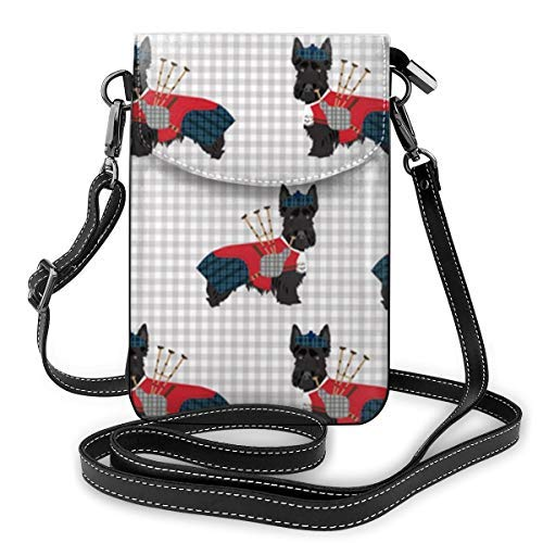 XCNGG Fashion Crossbody Cell Phone Purse - Scottie Dog with Bagpipes - Women PU Leather smart phone Shoulder Pouch Handbag with Adjustable Strap