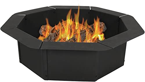 new arrival Sunnydaze Octagon Fire Ring 2021 Insert for Patio or Camping - DIY Fire Pit Rim Liner Above or In-Ground - Outdoor Heavy Duty 2.2mm Thick outlet sale Steel - 38 Inch online sale