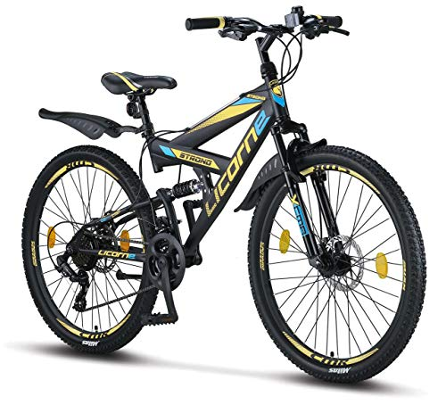 Licorne Bike Strong D 26' mountain bike Fully, adatto a partire da 150 cm, freno a disco anteriore e posteriore, cambio Shimano a 21 marce, sospensioni complete, per ragazzi, Nero/Blu/Lime