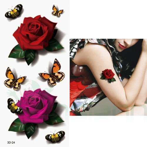 Tatuaje Tattoo temporalmente lavable rosas mariposas Body Art extraíb
