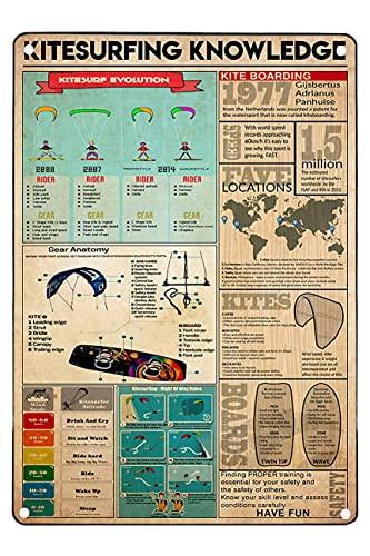Retro Metal Signs Funny Kitesurfing Knowledge Kitesurf Evolution Kite Boarding S for Men 12X16 Inches