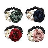 LOVEF 4Pcs Korean Fashion Pearl Hair Rope Rose Flower Hair band Rhinestone Hair Ties Rubber Band Hair Jewelry