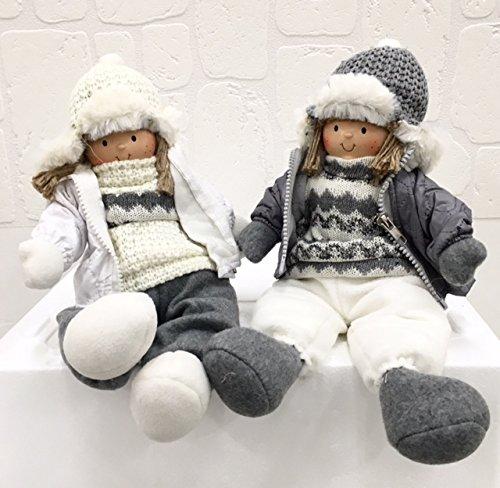 Pupazzo Bambola Bambina Ragazza SEDUTA DA MENSOLA da 34 cm DECORAZIONE NATALE