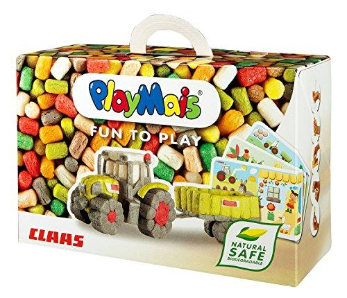 PlayMais FUN TO PLAY Claas Bastel-Set für Kinder ab 3 Jahren | Motorik-Spielzeug mit 550 PlayMais, 10 Vorlagen & Anleitung für Traktor & Co | Natürliches Spielzeug | Fördert Kreativität & Feinmotorik