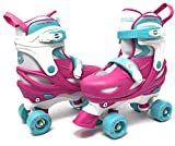 CHICAGO Skates Girls Adjustable Junior Quad Skates - Pink/White/Teal - Small Sizes J10-J13