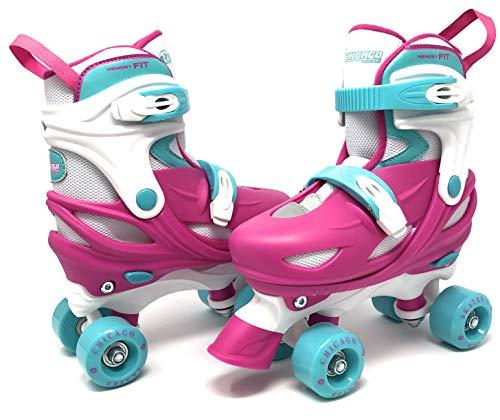 Chicago Skates Girls Adjustable Junior Quad Skates - Pink/White/Teal - Medium Sizes 1-4