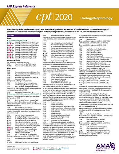 CPT 2020 Express Reference Coding Card: Urology/Nephrology