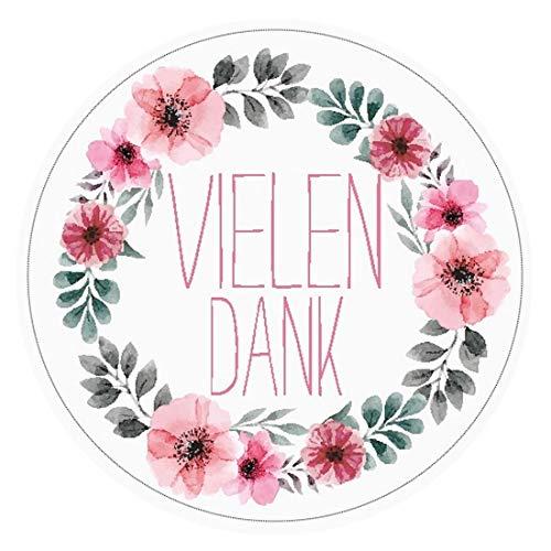 48 VIELEN DANK Aufkleber Sticker zum Danke sagen - Ideal für Geburtstag Hochzeit Weihnachten - 4 x 4 cm - Rosa Weiß - Blumen
