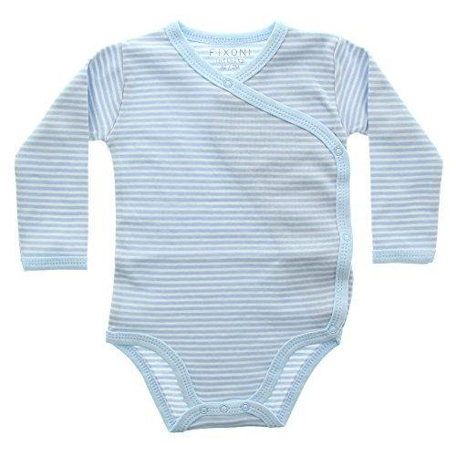 Fixoni Body Manches Longues Portefeuille 100% Coton à Rayures - Bébé Mixte - 50 (0 mois) Bleu Clair Blanc