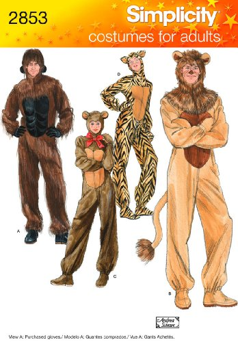 Simplicity 2853 Gorilla, Lion, bear and Cat Sewing Pattern for Adult Men and Women by Andrea Schewe Sizes XS-XL