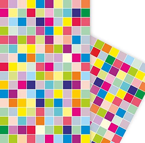 ArtUp.de 5 Bögen Geschenkpapier fröhliche bunte Karo für tolle Geschenke super DIY Bastelbögen stabile Qualität Bogengröße DIN A2 (42 x 59 cm) Cube Quadrat Design