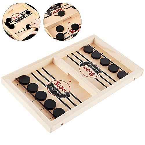 Fast Slingpuck Brettspiel Hockey Schnelles SlingPuck Spiel Holz Desktop Holzhockeyspiel Gewinner Brettspiele Familienspielzeug Spielzeug Eishockey Tischspiel für Kinder Familien Party 36,5x21,5x2,5 cm