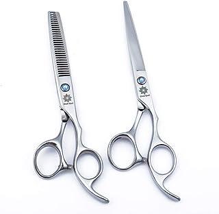 "6.0"" Professional Barber Scissors Kit and Hair Cutting Scissors - Barber Razor Edge Shears - Fishbone-Shaped Big Tooth Hair Thinning/Blending/Layering Scissors (Seamless Teeth)"