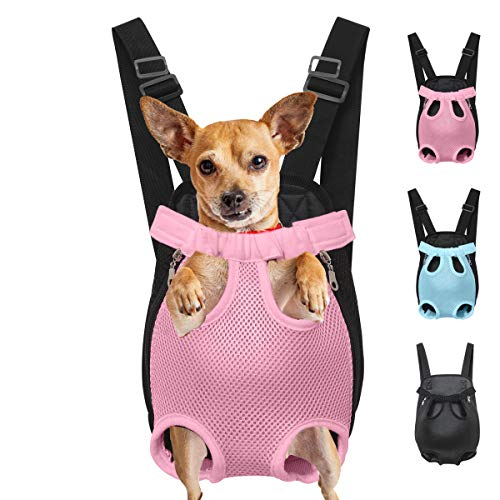 Henkelion Dog Carrier Backpack Front Pack, Pet Carrier Back Pack for Small Medium Cat Puppy Doggie, Dog Body Carrying Bag Sling Backpack, Dog Treat Holder for Chest - Pink - Extra Large