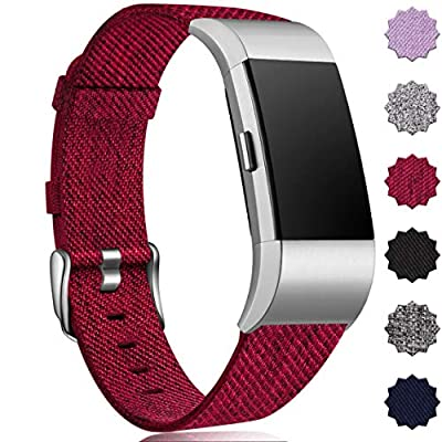 Maledan Bands Compatible with Fitbit Charge 2 and Charge 2 SE Fitness Activity Tracker for Women Men, Durable Woven Fabric Watch Band Replacement Accessories Strap Wristband, Small, Wine Red