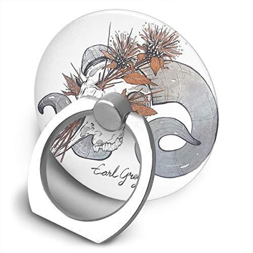 MorbidiTea Earl Grey con soporte para teléfono móvil, diseño de calavera de carnero, soporte de anillo de teléfono celular de forma redonda, soporte de metal giratorio de 360 grados para serie de teléfonos