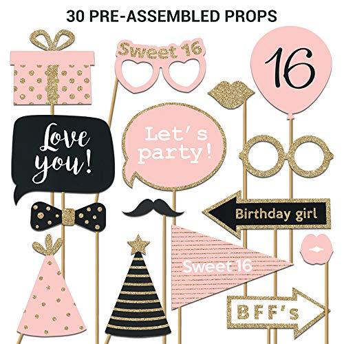 Fully Assembled Sweet 16 Birthday Photo Booth Props. 30 Piece Box Set of Pink, Rose Gold and Black Selfie Party Supplies and Decorations Kit with Real Glitter. Original 16th Bday Designs Need No DIY.