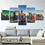 Cuadro en Lienzo Chicago Ciudad Sears Torre Moderno Impresión de 5 Piezas Impresión Artística Imagen Gráfica Decoracion de Pared - Enmarcado
