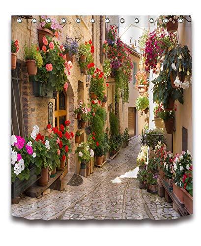 ZyrunaeL European Shower Curtain With Nature Scene,3D Printing Mediterranean Greece Scene Old Street Flowers Picture,Waterproof Polyester Fabric Bathroom Decor 60X72 Inch