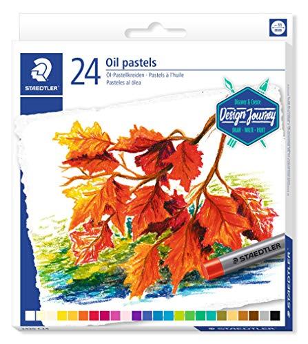 STAEDTLER 2420 C24 Ölpastellkreiden, wasserfest, haftet auf nahezu allen glatten Flächen, Kreidendurchmesser ca. 11 mm, Kartonetui mit 24 brillanten Farben