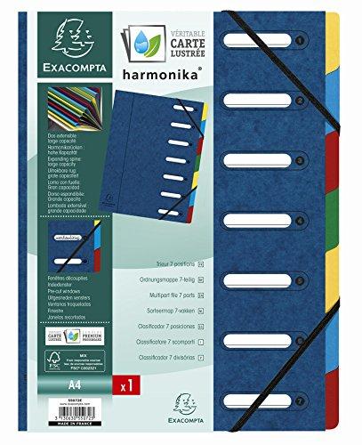 Exacompta 55072E Ordnungsmappe (Harmonika, DIN A4, 21 x 29,7 cm, 7 Fächer, aus Manila-Karton, Gummizug, Indexfenster) 1 Stück Blau