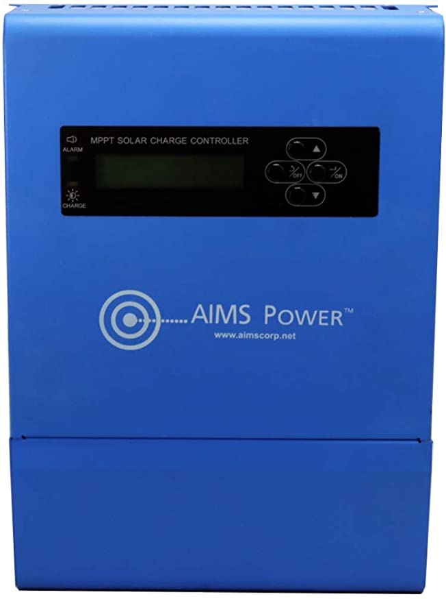 AIMS Power SCC40AMPPT 40 Amp MPPT Solar Charge Controller; Charges 12, 24, 36 and 48 Volt Solar Systems; 4 Stage Charging; Battery Type Selector; Stackable; Over Temp Protection