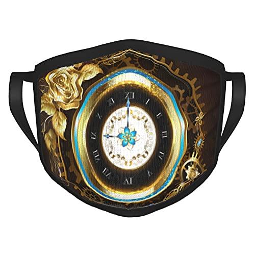 Reloj dorado con rosa dorada, cómodas y reutilizables máscaras con bordes negros para adultos