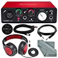Focusrite Scarlett Solo USB Audio Interface (2nd Generation) Bundle with XLR Cable + 1/4 Inch Cable + Samson Studio Headphones + FiberTique Cleaning Cloth… from Focusrite