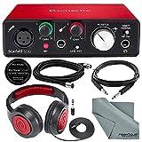 Focusrite Scarlett Solo USB Audio Interface (2nd Generation) Bundle with XLR Cable + 1/4 Inch Cable + Samson Studio Headphones + FiberTique Cleaning Cloth…