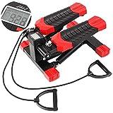 FEMOR Máquina de Step Stepper con Cintas de Entrenamiento y Resistencia Regulable Mini Aparato de Ejercicio para Deporte Interior Favorecido para Fitness y Salud (Negro y Rojo)