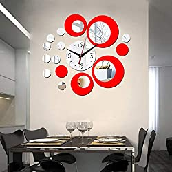HOODDEAL Acrylic Clock and Mirror Style Removable Decal Vinyl Art Wall Sticker Home Decor (Silver Red)