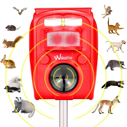Wikomo Animal Repeller Solar Powered Waterproof, Motion Sensor and Flashing Light Outdoor Red Repeller for Cats, Dogs, Squirrels, Groundhog, Rats, Racoon, Deer (Red)