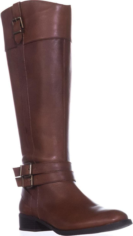 INC International Concepts I35 Frankii Buckle Riding Boots Cognac