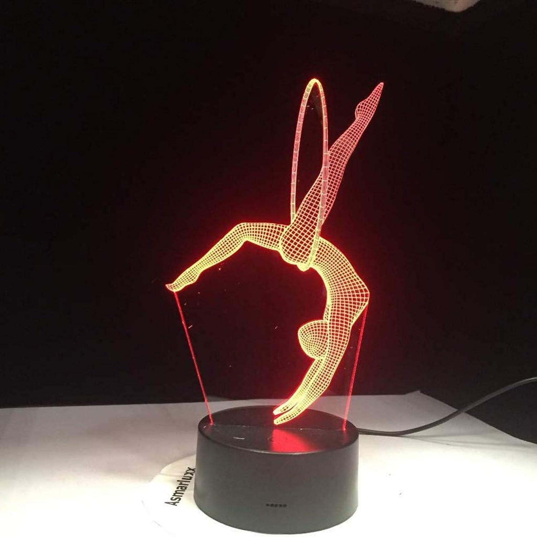 I will take action now Kreative helle Farbe des Lichtes der Geschenkgymnastik 3D führte Stereonacht-Atmosphren-Tischlampe der Nachtlichtleuchte