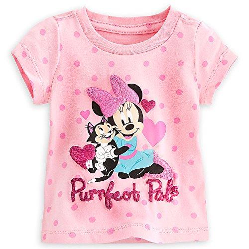 Disney Store - Camiseta de Minnie Mouse y Figaro Purrfect Pals para niñas, Color Rosa