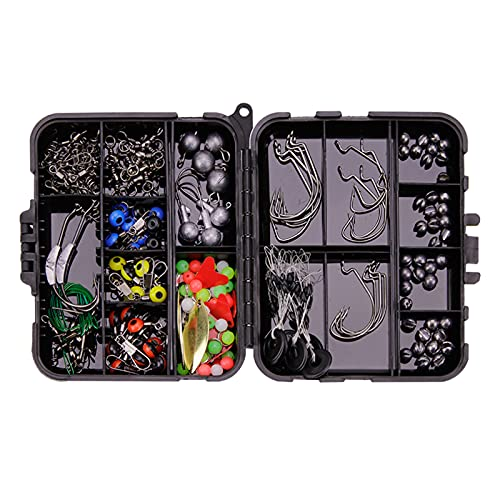 Fancyes 213pcs Fishing Accessories Kit,Including Jig Hooks,Bullet Bass Casting Sinker Weights, Fishing Swivels Snaps,Sinker Slides,Fishing Set with Tackle Box - Black