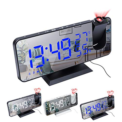 XFTOPSE LED Projection Digital Alarm Clock for Bedroom, Mirror Clock Digital with USB Charger, Dual Alarm Clock with Temperature and Humidity for Heavy Sleepers 4 Dimmer 180° Projection Clock Radio