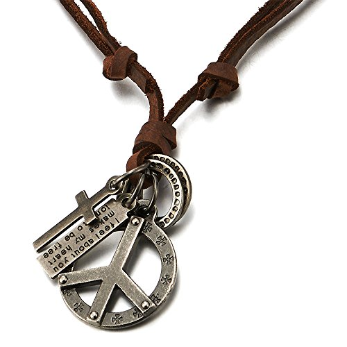 COOLSTEELANDBEYOND Unisex Vintage Colgante Símbolo contra la Guerra Cruz, Collar de Hombre Mujer, con Cordón de Cuero Ajustable