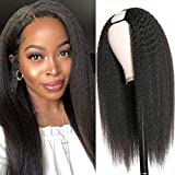 Aisiade Long Kinky Straight U Part Wigs for Black Women Half Wig Yaki Straight U Part Wigs Clip in Hair Extension Middle Part Wig Synthetic Black Straight Wigs Natural Hair Full Head