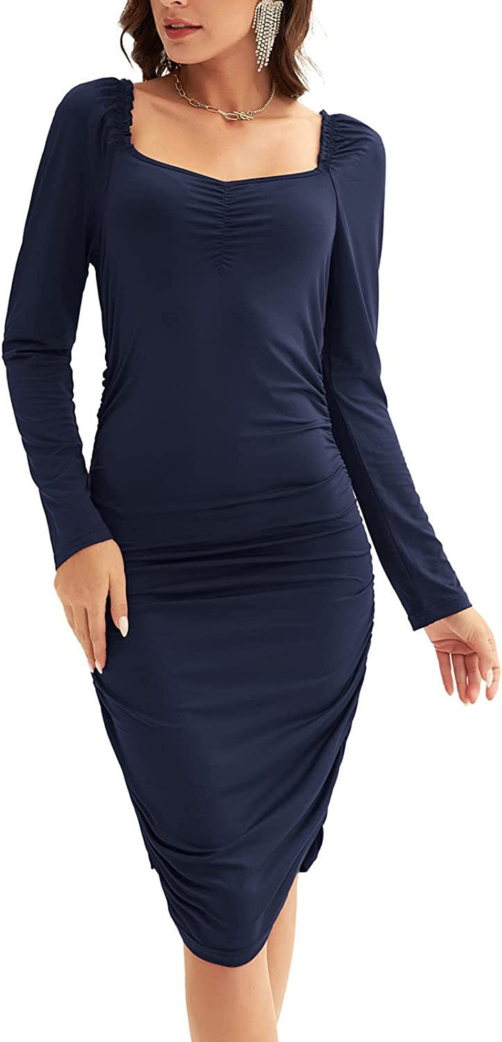 LIUMILAC Womens Long Sleeve Pencil Work Dress Club Party Dress Ruched Uneck Dress