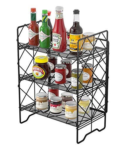 G.a HOMEFAVOR Gewürzregal,Gewürzdosen Kräuter Regal-Set Küche Gewürzregal für Küchentische, Küchenregal Metallregal,einfach zu montieren 3 Etagen
